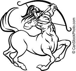 cégtábla, kentaur, állatöv, nyilas