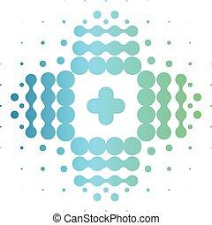 cégtábla., kereszt, elvont, elszigetelt, vektor, gyógyszertár, elegáns, icon., halftone, logo., segítség