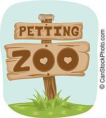 cégtábla kosztol, petting, állatkert