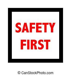 cégtábla., vektor, biztonság első