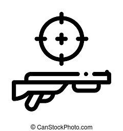 célmeghatározás, ábra, vektor, áttekintés, pisztoly, ikon