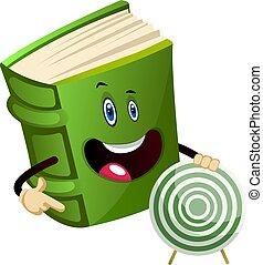 céltábla, ábra, háttér., vektor, zöld, birtok, fehér, könyv