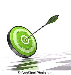 céltábla, felett, nyíl, ellenőr, zöld háttér