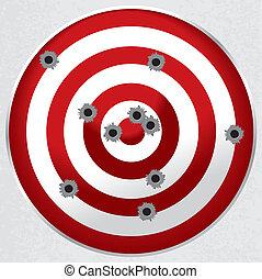 céltábla, lövedék kilyukad, pisztoly, lőtávolság, lövés