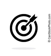 céltábla, shoot., sikeres, céloz, háttér., darts, fehér, ikon
