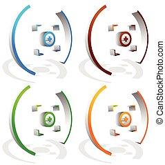 céltábla, színes, kereszt, megjelöl, vektor, haj, graphics.