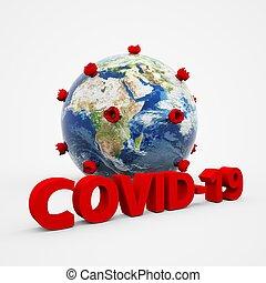 cím, coronavirus, háttér, covid-19, vírus, struktúra, 3, fogalom, szöveg, fehér, rendering., sejt, földdel feltölt, vagy