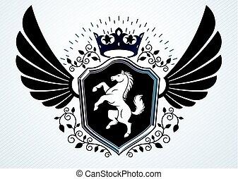 címertan, kasfogó, embléma, alkotott, szüret, ló, ábra, császári, vektor, tervezés, használ, sas, sablon, crown.
