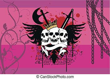címertani, background10, koponya