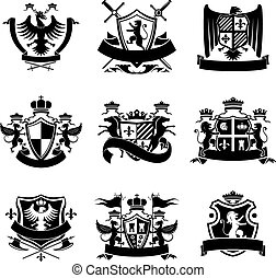 címertani, fekete, emblémák