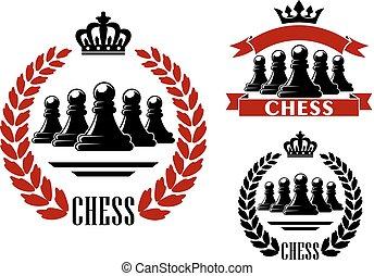 címertani, finom, jelkép, játék, sakkjáték