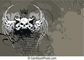 címertani, koponya, background9