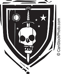 címertani, pajzs, kard, koponya