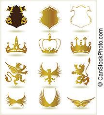 címertani, vektor, gyűjtés, arany, elements.