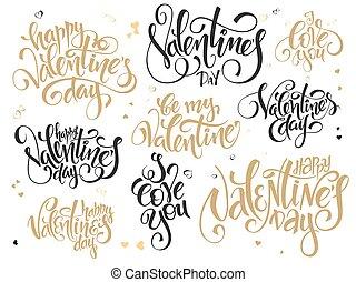 címez, felirat, állhatatos, szeret, szöveg, valentines, -, nap, kezezés írás, vektor, különféle, köszöntések, ön, nap, boldog