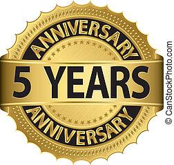 címke, arany-, 5, év, évforduló