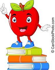 cölöp, előjegyez, álló, alma