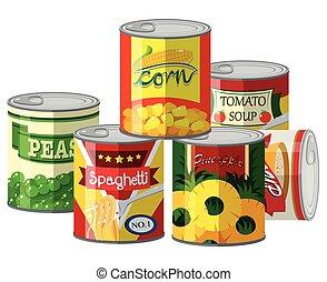 cölöp, konzervált, különböző, élelmiszer