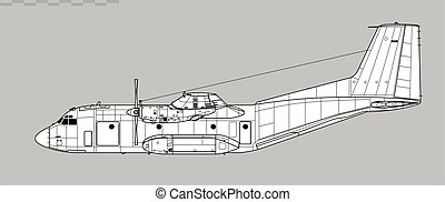 c-160., transall, szállít, vektor, rajz, aircraft., hadi