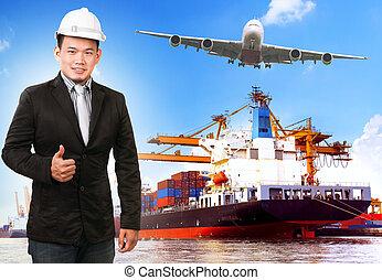 c-hang, ügy, hajó, rév, ember, konténer, rakomány, comercial