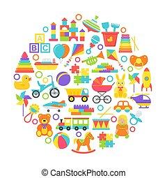 c-hang, csecsemő, kártya, apró, concept., ábra, karika, vektor, lakás, design.