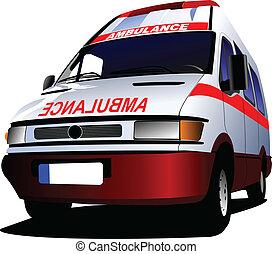 c-hang, felett, mentőautó, modern, white., furgon