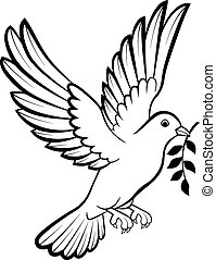 c-hang, madarak, jel, galamb, karikatúra, béke