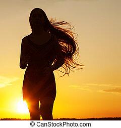c-hang, nő, szépség, szabadság, nature., szabad, leány, élvez, outdoor., boldog