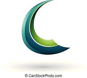 c-hang, repülés, ábra, vektor, zöld, sima, levél