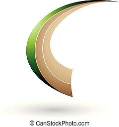 c-hang, repülés, dinamikus, ábra, vektor, zöld, nyersgyapjúszínű bezs, levél