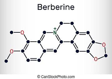 c20h18no4, molecule., kémiai, alkaloid, berberine, füvészkönyv, szerkezeti, képlet