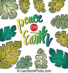 calligraphy., felirat, földdel feltölt, béke, kéz