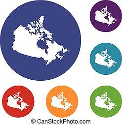 canada térkép, állhatatos, ikonok