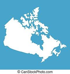 canada térkép, fehér, ikon