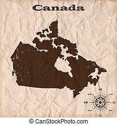 canada térkép, gyűrött, öreg, paper., ábra, vektor, grunge