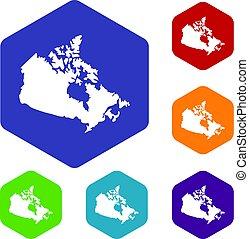 canada térkép, hatszög, állhatatos, ikonok