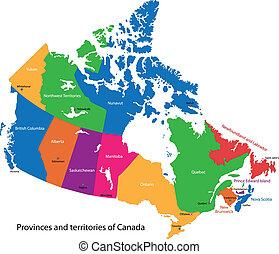 canada térkép, színes