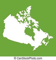 canada térkép, zöld, ikon