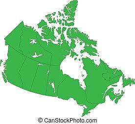 canada térkép, zöld