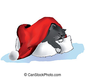 cap., vektor, alvás, karácsony, macska