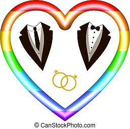 card., díszkíséretek, vektor, gyűrű, hím, lgbt, szív, icon:, színezett, ikonok, meghívás, szivárvány, esküvő