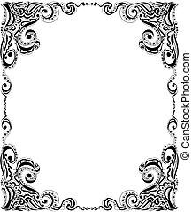 card., keret, pattern., tervezés, sablon, virágos