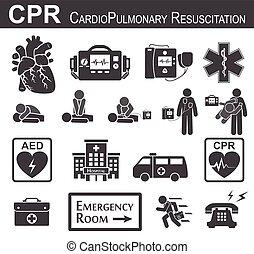 cardiopulmonary, )(, tervezés, összenyomás, &, ), (, eltart, bls, láda, acls, fekete, alapvető, fehér, felelevenítés, )and, lakás, élet, száj, szív, haladó, ikon, defibrillation, cpr