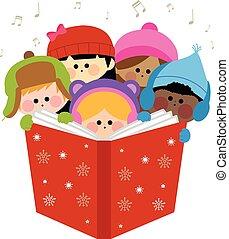 carols., csoport, ábra, gyerekek, vektor, éneklés, karácsony