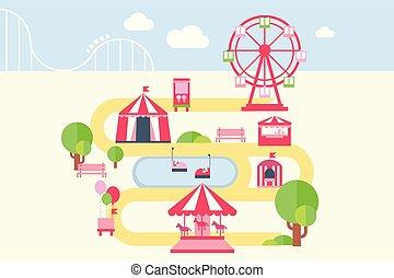 carousels, térkép, mód, alapismeretek, lakás, vonzások, liget, ábra, infographic, vektor, szórakozás