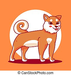 cartoon., inu, kutya, vektor, tervezés, jutalom, shiba