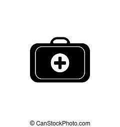 case., jelkép, ábra, vektor, (sign), orvosi, ikon