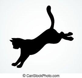cat., vektor, rajz, ikon, ugrás