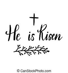 celebration., tervezés, ünnep, kézírás, húsvét, emelkedett, ő, felirat