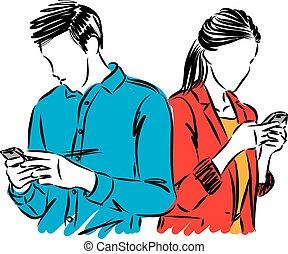 cellphones, bábu ábra, párosít, nő, vektor